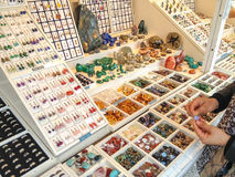 Women's jewelry with various precious and semi-precious stones Royalty Free Stock Images