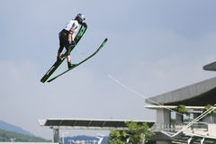 Women's Jump Action - Iryna Turets. Image of Iryna Turets of Belarus competing in the Women's Jump Finals event at the 2009 Putrajaya Waterski World Cup, held at Stock Images