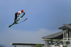 Women's Jump Action - Marion Mathieu. Image of Marion Mathieu of France competing in the Women's Jump Finals event at the 2009 Putrajaya Waterski World Cup, held Royalty Free Stock Images