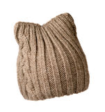 Women's knitted hat isolated on white background.hat beige Stock Image