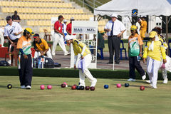 Women's Lawn Bowl Action Royalty Free Stock Photography