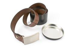 Women's leather belt in aluminum box Stock Image