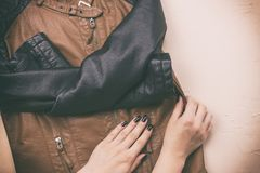 Women`s leather jacket. The view from the top. stock images
