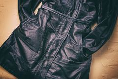 Women`s leather jacket. The view from the top. royalty free stock photos