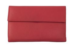 Women's leather wallet red Stock Images