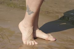 women`s legs with butterfly tattoo