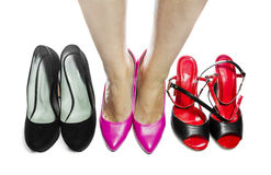 Women's legs in pink shoes, on white background Stock Image