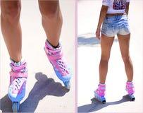 Women's legs in roller skates Stock Photography