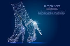 Women`s legs in shoes, high heels.abstract design ,logo isolated from low poly wireframe on space background. Vector vector illustration