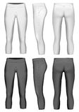 Women`s 3/4 length compression leggings. Women`s compression leggings black and white variants. Vector illustration Royalty Free Stock Images