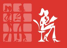 Women's life. The white stylized silhouette of the sitting woman on a red background Royalty Free Stock Images