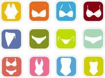 Women's lingerie icons Stock Photos