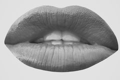 Women`s lips. Closeup photo of red lips stock photography