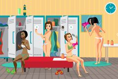 Women`s locker room in the spa salon. Girls dress, dry hair. With a hair dryer in the dressing place a fitness club. Vector flat cartoon illustration vector illustration