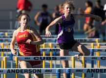Women's Low Hurdles Race Is On Royalty Free Stock Photography