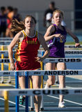 Women's Low Hurdles Race Is On Stock Images