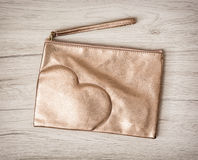 Women´s luxury necessary cosmetic bag with heart Royalty Free Stock Image