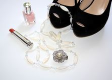 Set of fashion accessories stock images