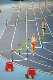 Women's 400m hurdles at Rio2016 Olympics. Joanna Linkiewicz from Poland competing in  heat 2 of 400 meters hurdles at Rio2016 Olympics. In semifinals, she missed Royalty Free Stock Photos