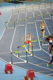 Women's 400m hurdles at Rio2016 Olympics. Joanna Linkiewicz from Poland competing in  heat 2 of 400 meters hurdles at Rio2016 Olympics. In semifinals, she missed Royalty Free Stock Image