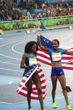 Women`s 400m hurdles winners at Rio2016. Dalilah Muhammad and Ashley Spencer, American track and field athletes celebrates winning gold and bronze Olympic medals Stock Images