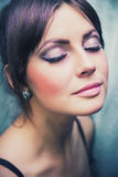 Women's makeup. Girl doing makeup in a beauty salon Royalty Free Stock Image