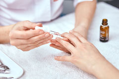 Women's manicure, nail file, hand care Royalty Free Stock Photo