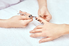 Women's manicure, nail file, hand care Stock Images