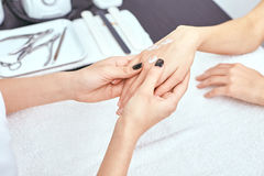 Women's manicure, nail file, hand care Royalty Free Stock Photography