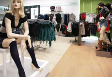 Women`s mannequin in store 3 stock photography