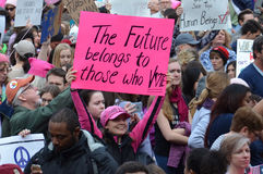 Women`s March Ann Arbor 2017. ANN ARBOR, MI - JAN 21: Protesters rally at the Women's March in Ann Arbor on January 21, 2017 stock photos