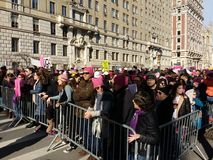 Women`s March, Central Park West, NYC, NY, USA Stock Photos