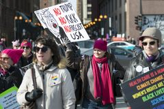 2018 Women`s March in Chicago. Chicago, IL - January 20, 2018 - Women`s March brought together people protesting against inequality in various social issues Royalty Free Stock Images