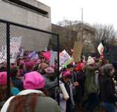 Women`s March Crowd Marching Behind Fences Escapes on to the National Mall, Washington, DC, USA. Women`s March on Washington, January 21, 2017: A record number Stock Photography