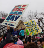 Women`s March, Half of Humanity Has Something to Say, Protesters Rally Against President Donald Trump, Washington, DC, USA. Women`s March on Washington, January Royalty Free Stock Photography