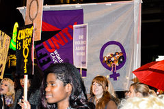 Women's only march in London Reclaim the Night 2014 Royalty Free Stock Photo
