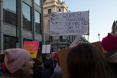 Women`s March London, 2017. On 21st of january protestors marched through the streets of london in the women`s march Stock Photos