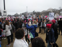 Women`s March, Media Documenting the Event, Trump Puts the Twit in Twitter, Protesters on the National Mall, Washington, DC, USA Royalty Free Stock Photos