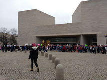 Women`s March, National Gallery of Art East Building, Washington, DC, USA Royalty Free Stock Images