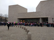 Women`s March, National Gallery of Art East Building, Washington, DC, USA Royalty Free Stock Photos