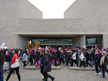 Women`s March, National Gallery of Art East Building, Washington, DC, USA Stock Photo