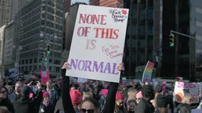 Women`s March 2018 in New York City. New York City - January 20, 2018 - people march in the 2018 Women`s March stock video