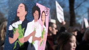 Women`s March 2018 in New York City stock footage