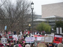 Women`s March, Protest Crowd, Bridges Not Walls, Immigration, Signs and Posters, Washington, DC, USA Royalty Free Stock Images