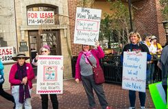 2018 Women`s March in Santa Ana, California. Santa Ana, California - January 20, 2018: Women standing up for their rights at the 2018 Women`s March in Santa Ana Stock Photography