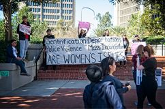2018 Women`s March in Santa Ana, California. Santa Ana, California - January 20, 2018: Women standing up for their rights at the 2018 Women`s March in Santa Ana Royalty Free Stock Photo