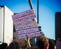 2018 Women`s March in Santa Ana, California. Santa Ana, California - January 20, 2018: Women standing up for their rights at the 2018 Women`s March in Santa Ana Stock Image
