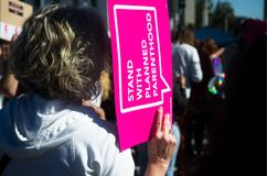 2018 Women`s March in Santa Ana, California. Santa Ana, California - January 20, 2018: Women standing up for their rights at the 2018 Women`s March in Santa Ana Stock Photos