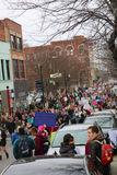 Women`s March. Vertical view of downtown street filled with people marching Womens` March on Asheville NC January 21st 2017 Stock Images