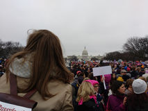Women`s March on Washington DC, Protesters Gathered on the National Mall, US Capitol in the Distance Royalty Free Stock Photos